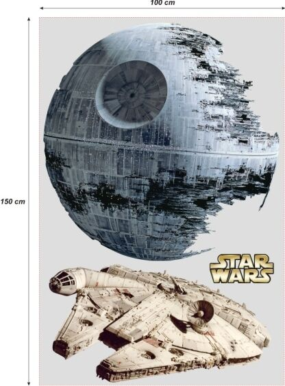 star wars sticker 150cm millenium falcon todesstern. Black Bedroom Furniture Sets. Home Design Ideas