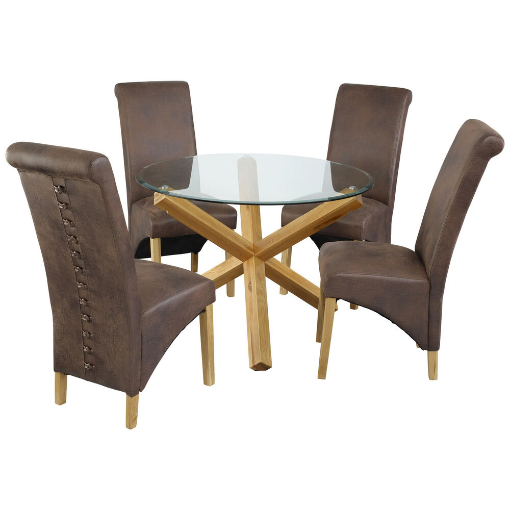 oak glass round dining table and chair set with 4 leather seats