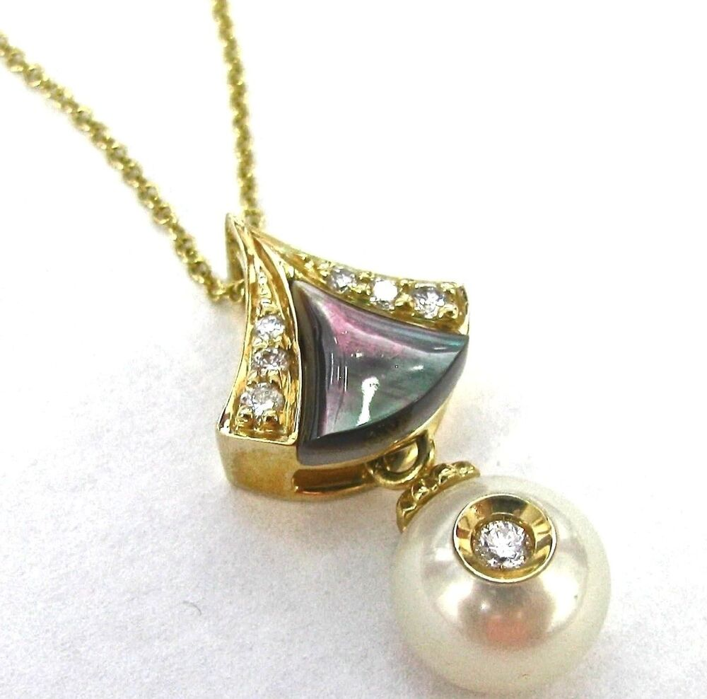 Galatea Diamond In A Pearl Drop Necklace 14kt Yellow Gold