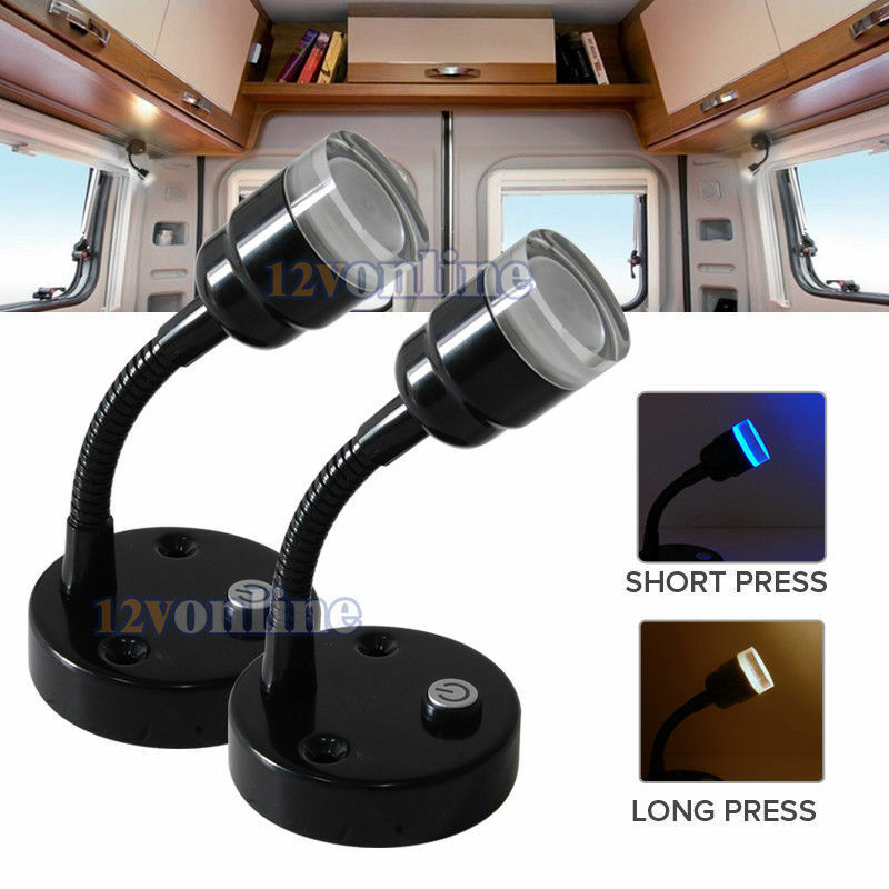 2*12V Flexible Wall Reading Light Bedside Book Lamp RV Caravan Interior Lighting eBay