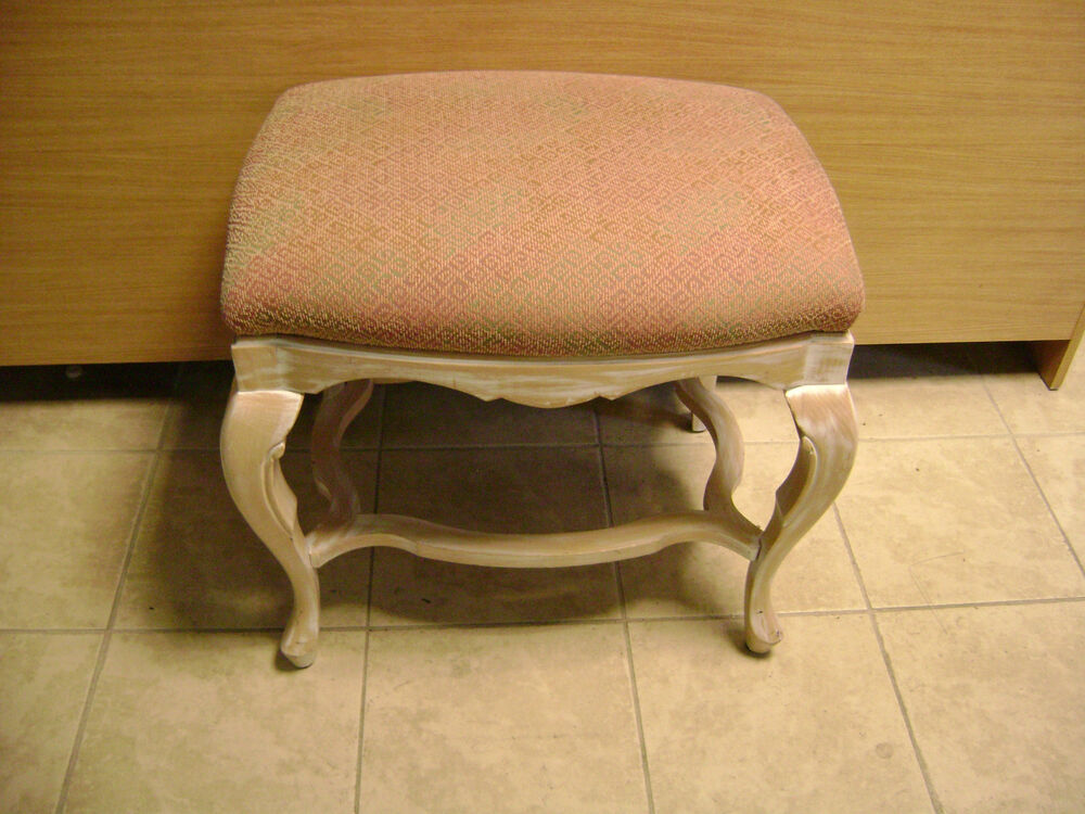 White washed wood pink fabric upholstered bench stool ebay White upholstered bench