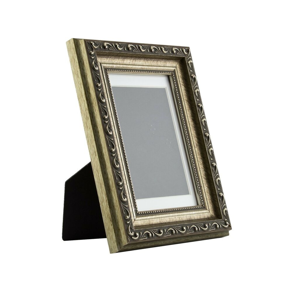 ancien ornate table top 4x6 antique silver standing picture frame with mat ebay. Black Bedroom Furniture Sets. Home Design Ideas