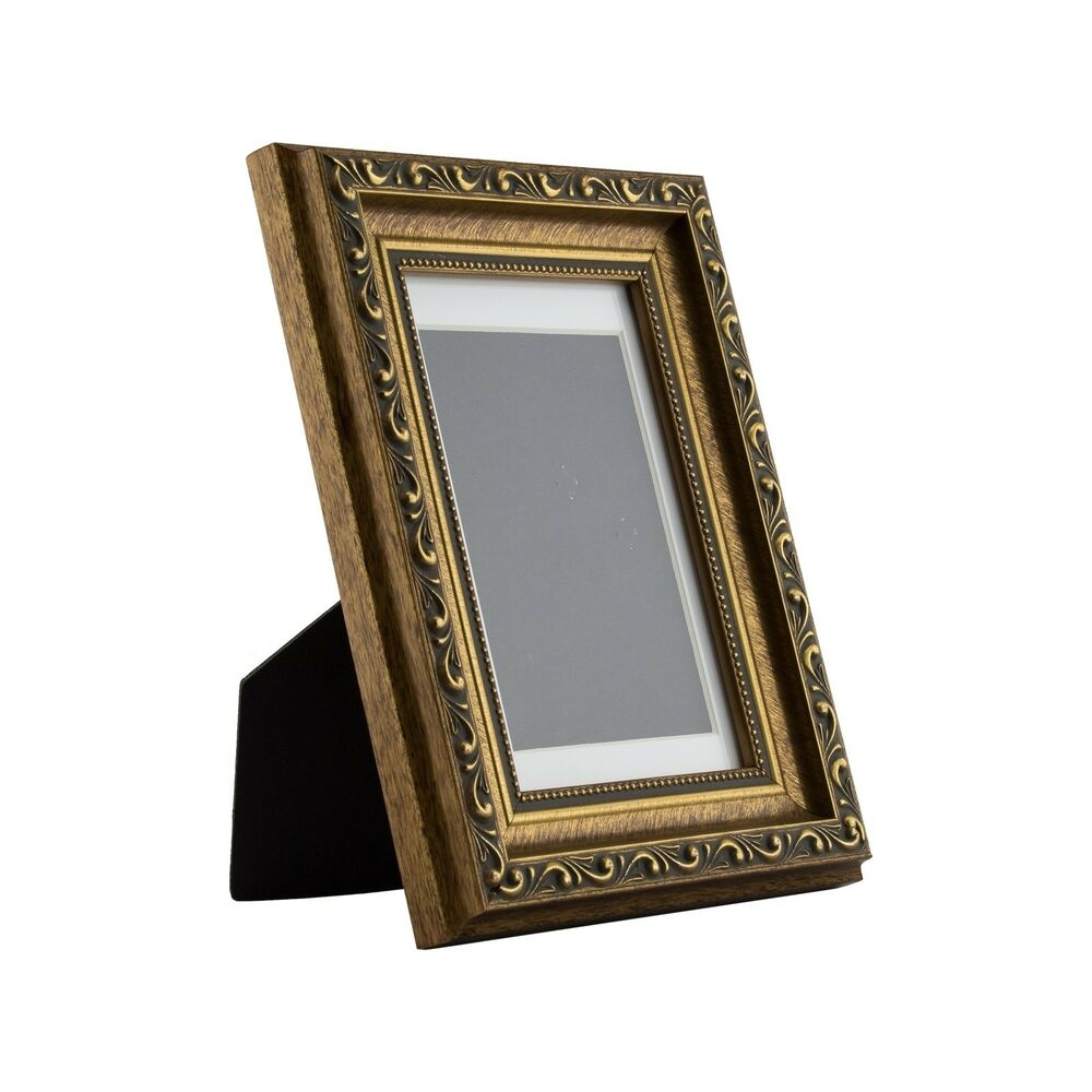 ancien ornate table top 4x6 antique gold standing picture frame with mat ebay. Black Bedroom Furniture Sets. Home Design Ideas