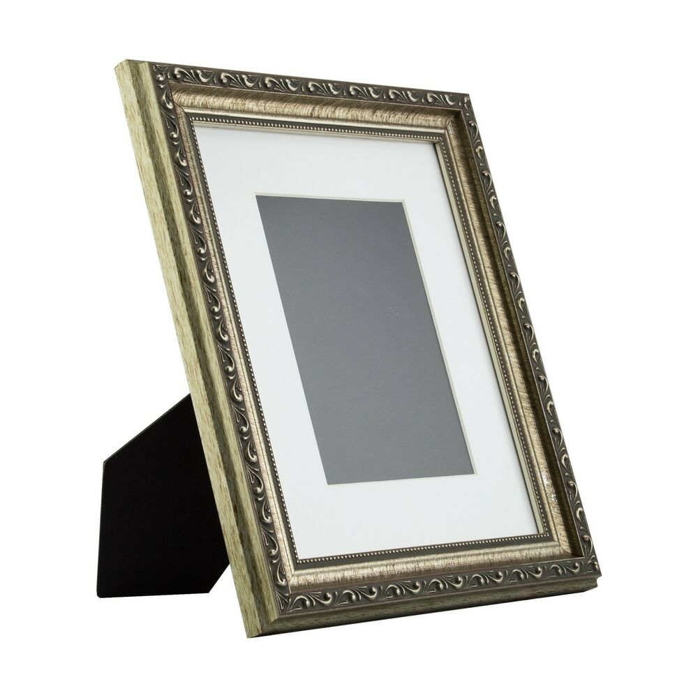 ancien ornate table top 8x10 antique silver standing picture frame with mat ebay. Black Bedroom Furniture Sets. Home Design Ideas