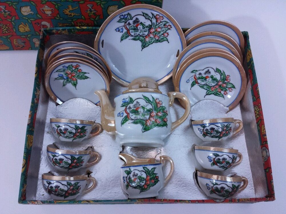 Toy Tea Set : Little hostess luster ware childs toy tea set in original