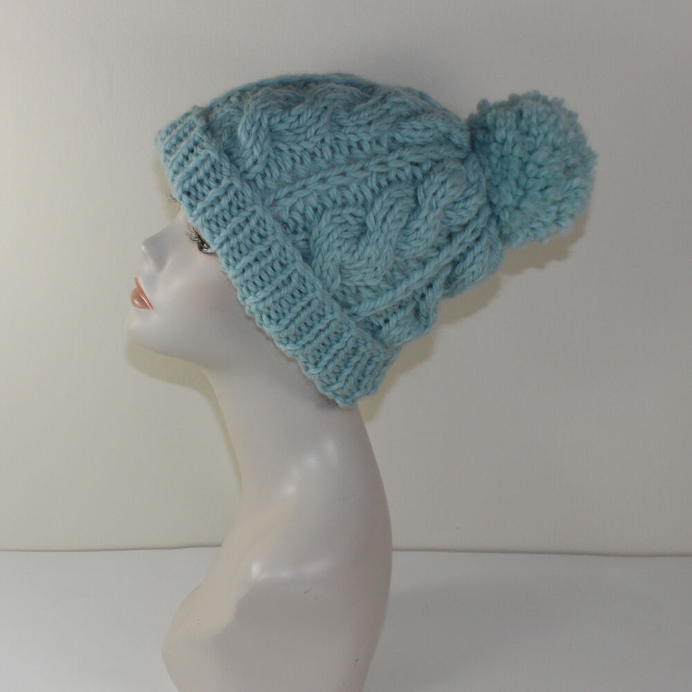 PRINTED KNIT INSTRUCTIONS -SUPER CHUNKY CABLE BOBBLE BEANIE HAT KNITTING PATT...