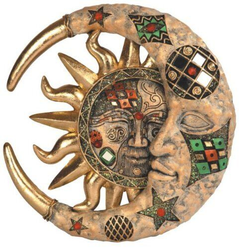 celestial sun moon mosaic plaque wall art mosaic hanging metal home decor garden ebay. Black Bedroom Furniture Sets. Home Design Ideas