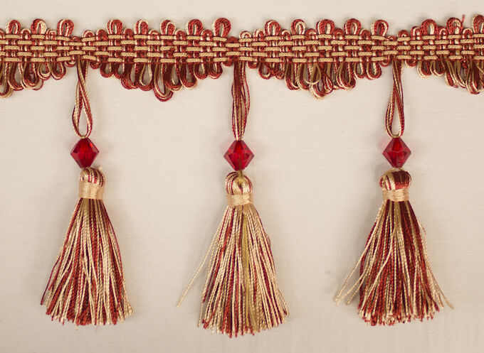 Yards Beaded FRINGE Trim for DRAPERY and UPHOLSTERY in Red / Beige ...