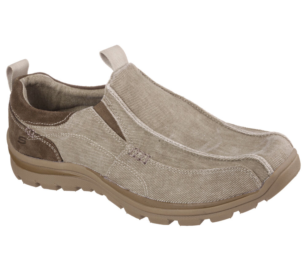 64363 taupe skechers shoe memory foam relax fit casual