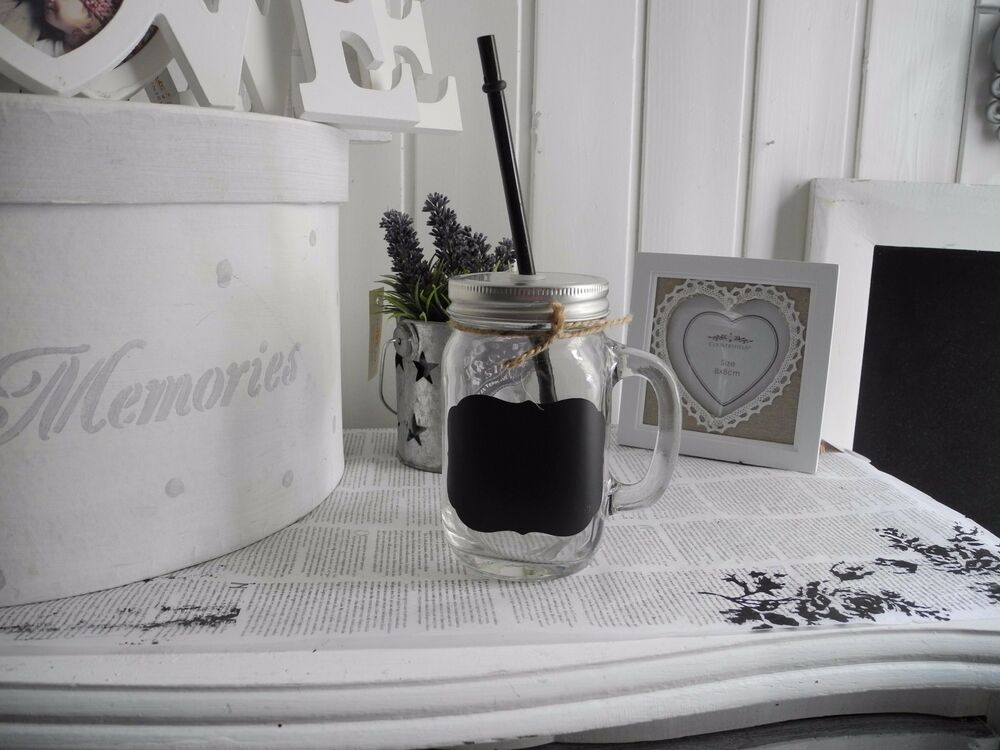 glas mit henkel trinkhalm marmeladenglas becher nostalgie shabby chic vintage ebay. Black Bedroom Furniture Sets. Home Design Ideas