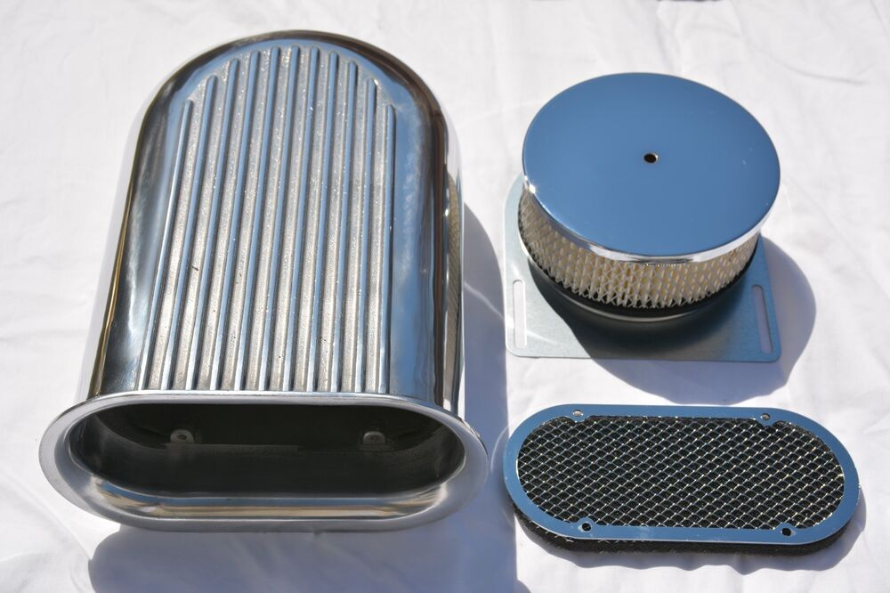 Four Bbl Carb Air Cleaners : Quot aluminum hilborn style finned hood scoop air cleaner