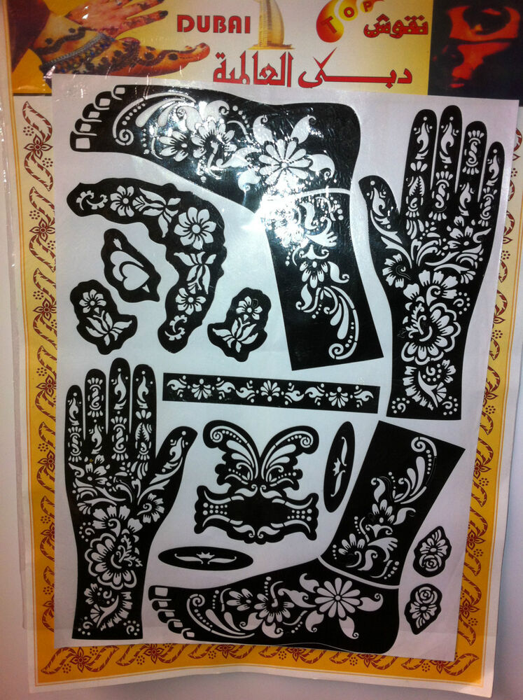 Indian Henna Tattoos Full Body: Henna Stencil Mehndi Stencils Arabic/Indian Style Body Art