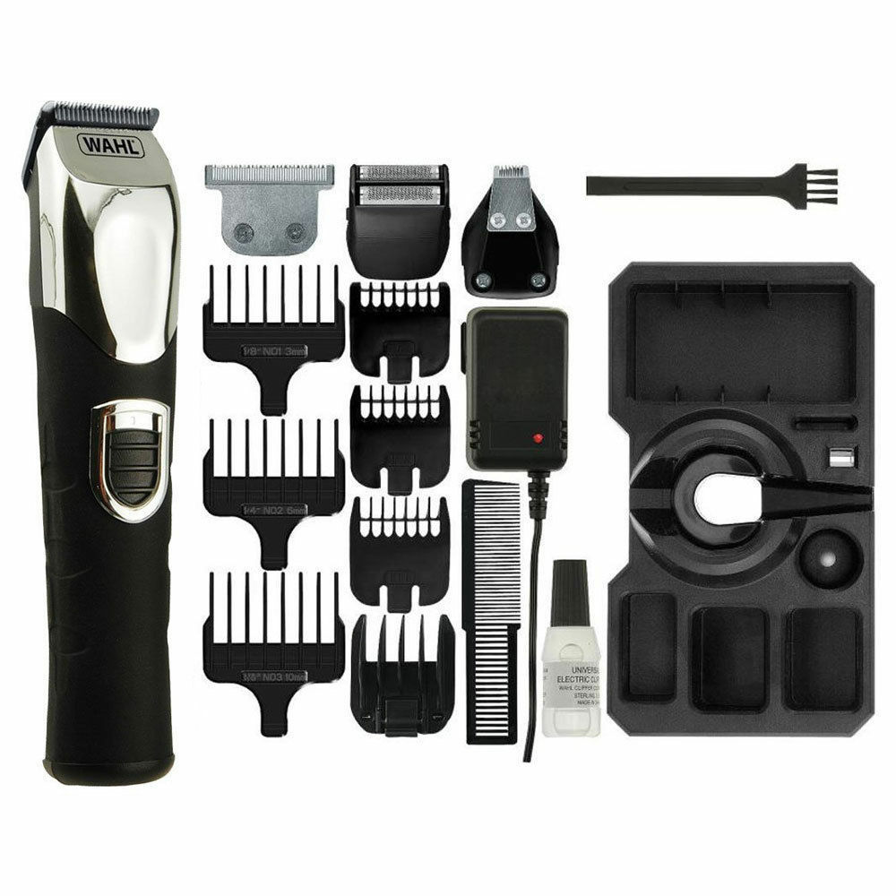 wahl mens deluxe hair beard shaver clipper rechargeable trimmer kit 9854 800 new 5037127008690. Black Bedroom Furniture Sets. Home Design Ideas
