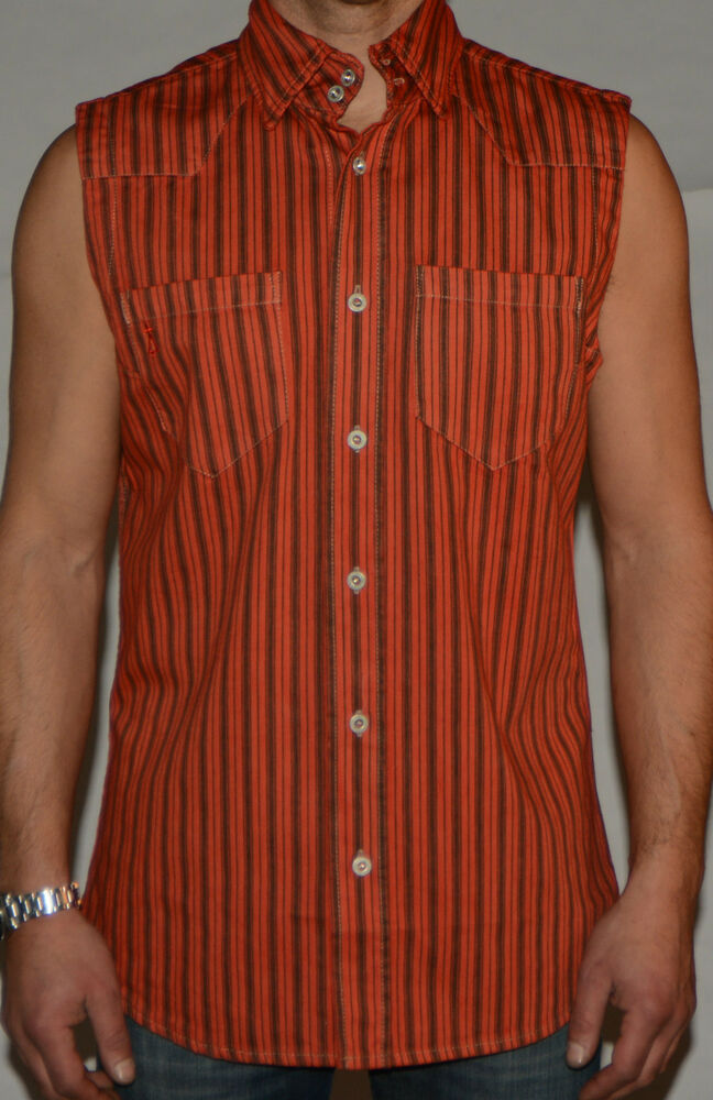 Demina Mens Sleeveless Designer Fitted Shirts Tumblr Red
