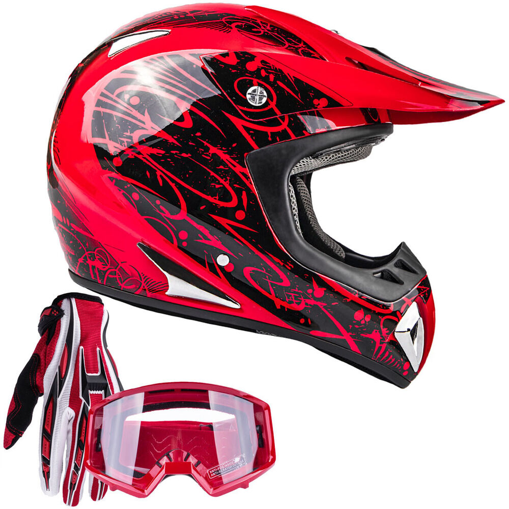 adult dot motocross helmet gloves goggles red utv dirt. Black Bedroom Furniture Sets. Home Design Ideas