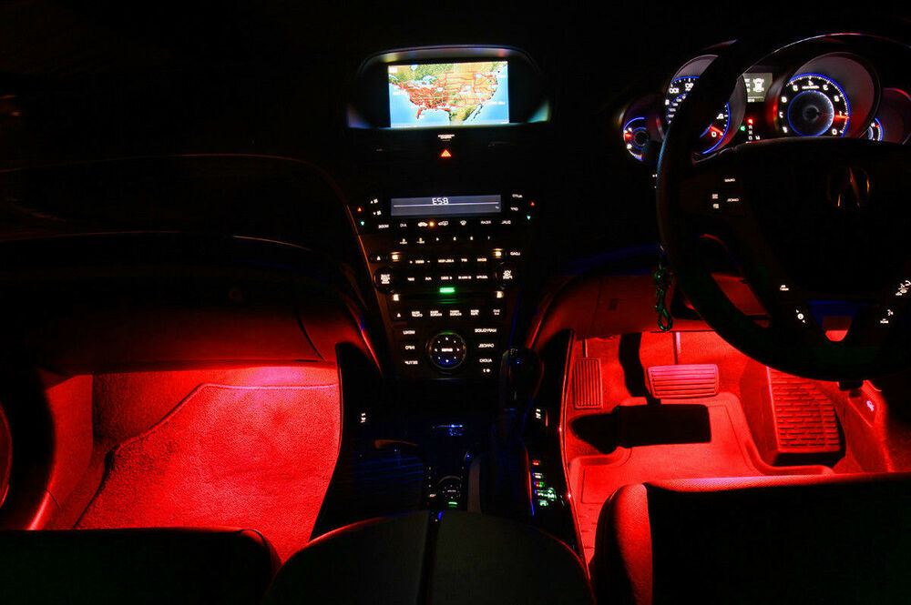 4pc red led under dash kit interior glow lights ebay. Black Bedroom Furniture Sets. Home Design Ideas
