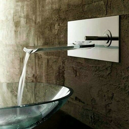Aa195 single handle waterfall wall mount bathroom sink faucet nickel brushed ebay for Waterfall faucets for bathroom