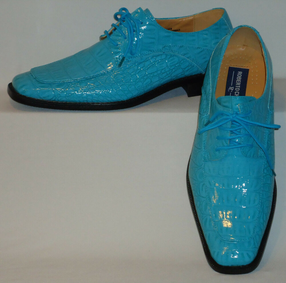 Mens Gorgeous Shiny Turquoise Blue Faux Croco Dress Shoes Roberto Chillini 6548 | EBay