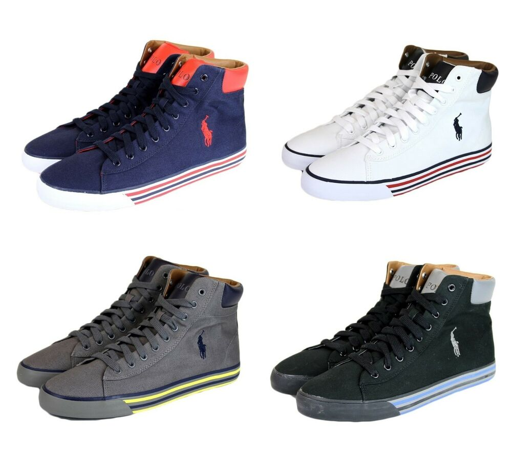 new authentic polo ralph lauren harvey canvas high top sneaker w logo. Black Bedroom Furniture Sets. Home Design Ideas