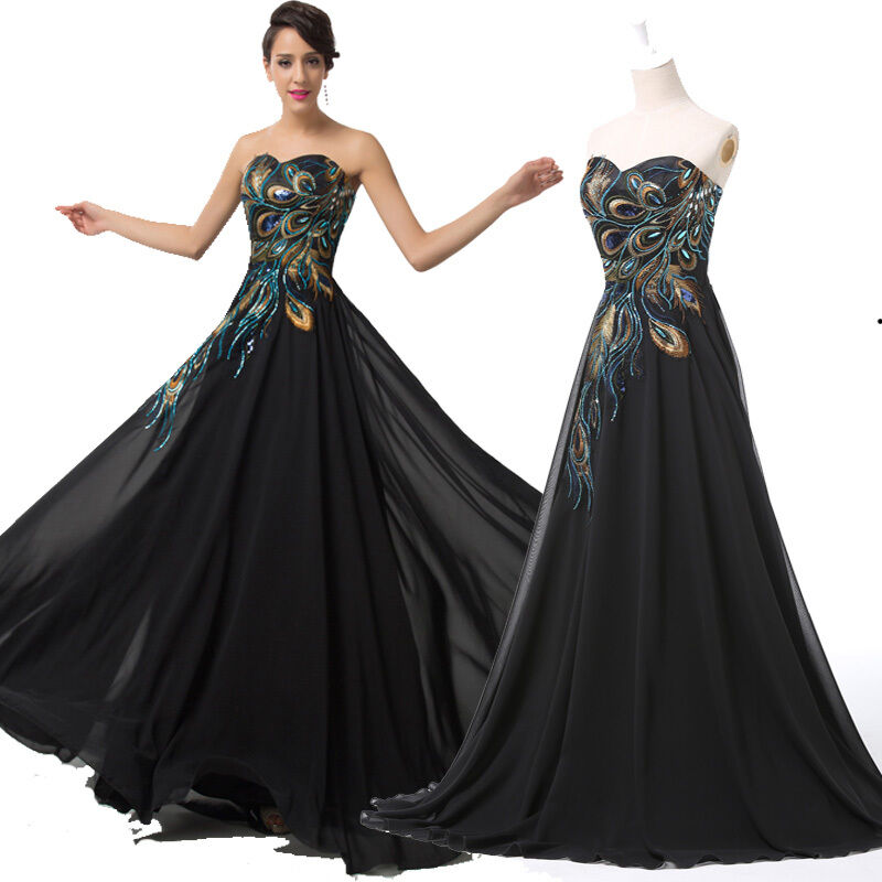 4 Color PEACOCK 50s LONG Prom Masquerade Wedding Party Evening ...