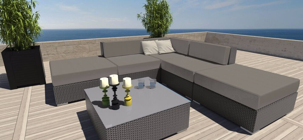 grey 6pc weather patio modern outdoor sectional sofa furniture rattan wicker ebay. Black Bedroom Furniture Sets. Home Design Ideas