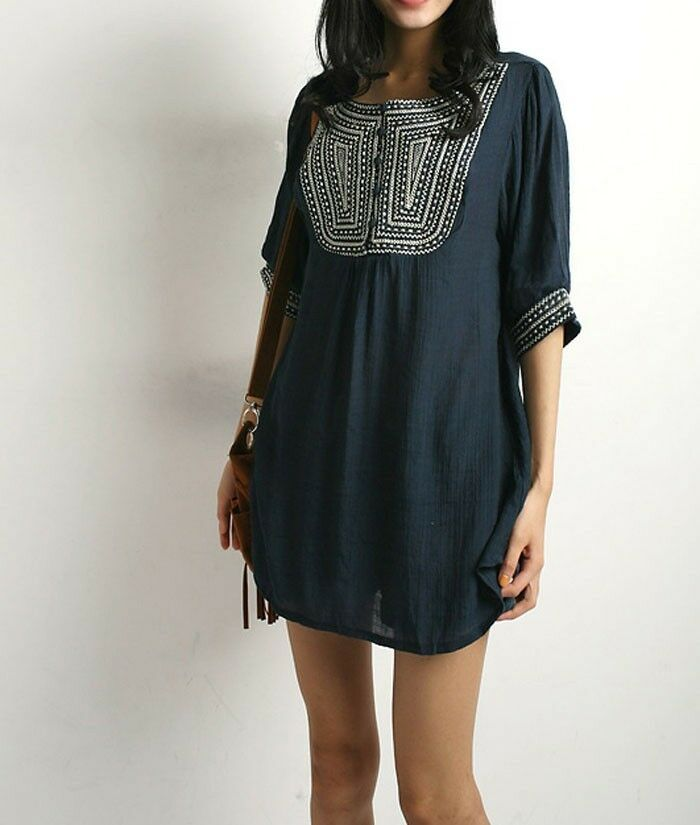 Navy women embroidered floral peasant tunic boho gypsy