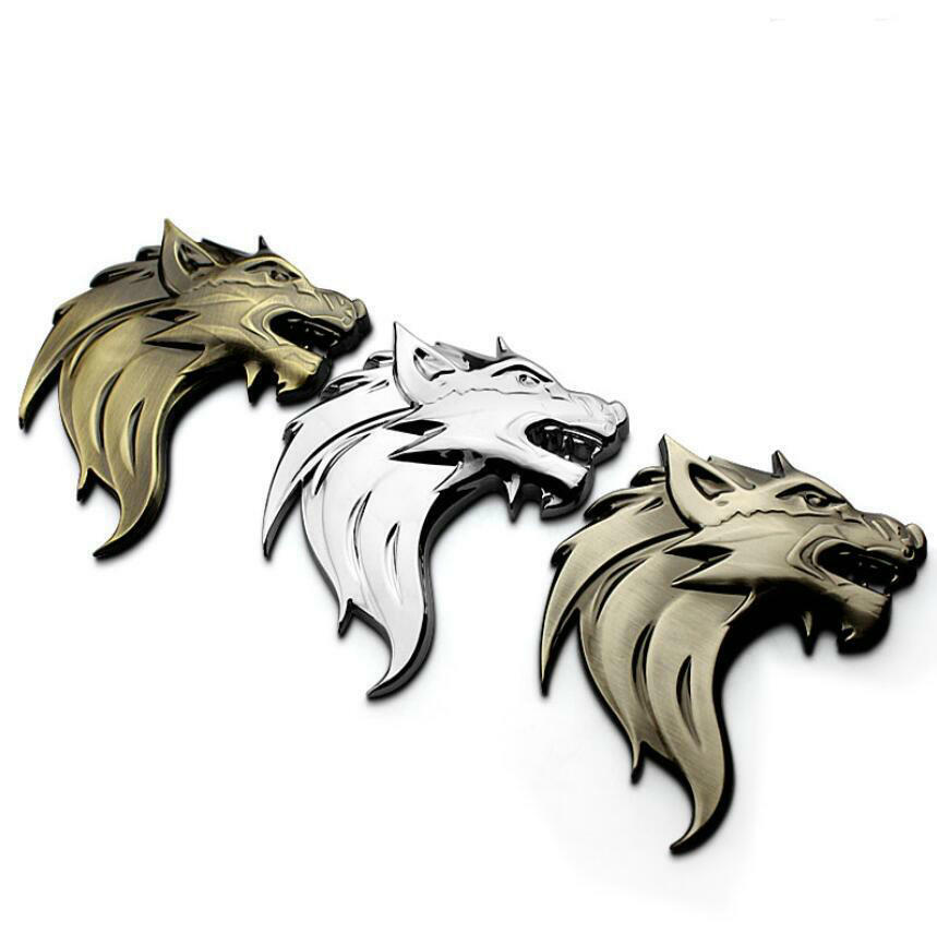 car styling metal wolf totem car grille badge wolf head auto decal car stickers ebay. Black Bedroom Furniture Sets. Home Design Ideas