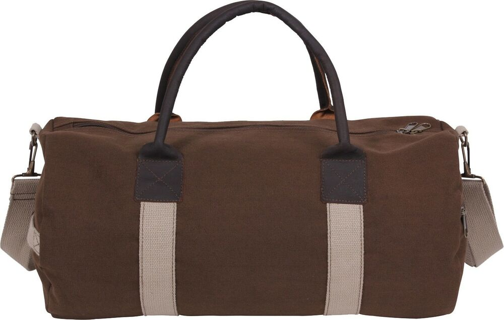 Details about Brown Two Tone Canvas   Leather Mini Duffle Shoulder Gym Bag  - 19