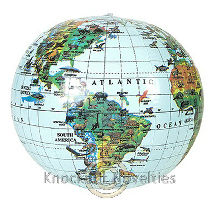 """16"""" Inflatable Globe World Earth Planet Map Large Big Blow ..."""
