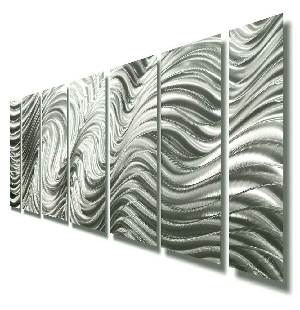 Modern abstract silver metal wall art sculpture original home decor jon allen ebay Home decor wall art contemporary