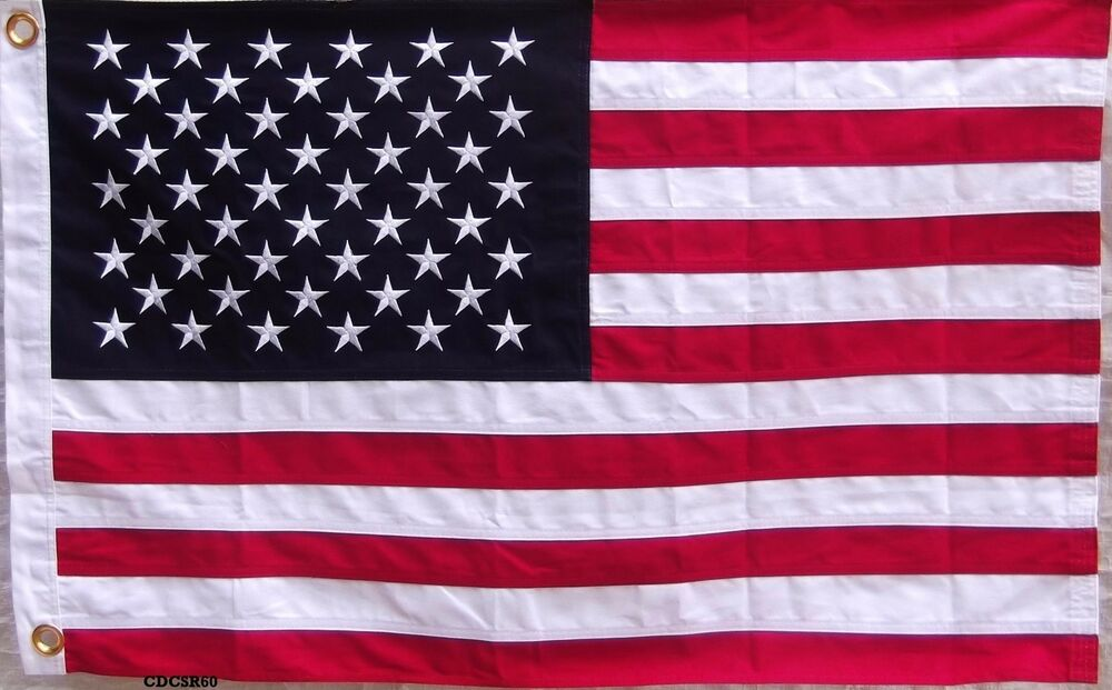 d14d96028e27 Details about HEAVY COTTON USA AMERICAN FLAG - 2 feet X 3 ft EMBROIDERED  STARS   SEWN STRIPES