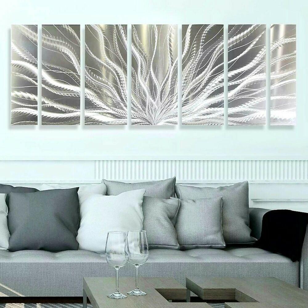Silver metal wall art modern metal wall decor by galactic for Silver wall art