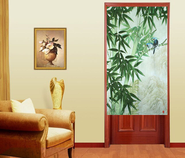 Japan Noren Style Door Curtain with Spring Green Bamboo and Singing ...