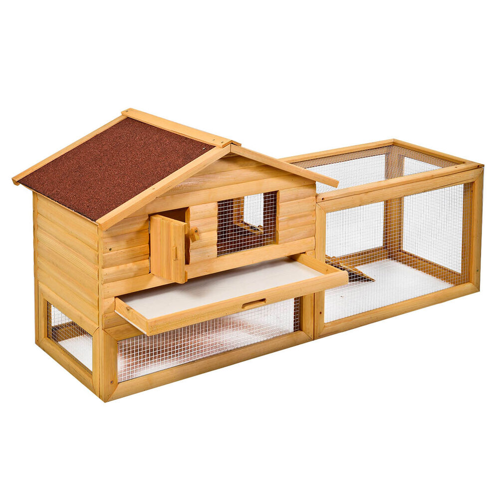 62 Quot Backyard Wooden Rabbit Hutch Chicken Coop House Bunny