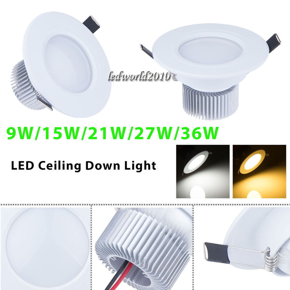 36w Dimmable Led Ceiling Down Light Bathroom Fitting: Dimmable 9W/15W/21W/27W LED Recessed Ceiling Down Light