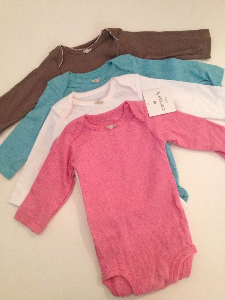 Carters Baby Girl 4 Long Sleeve Bodysuits Size 3 18 Months ...