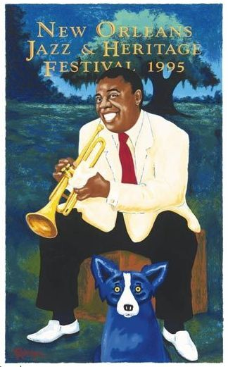 1995 louis armstrong blue dog new orleans jazz fest