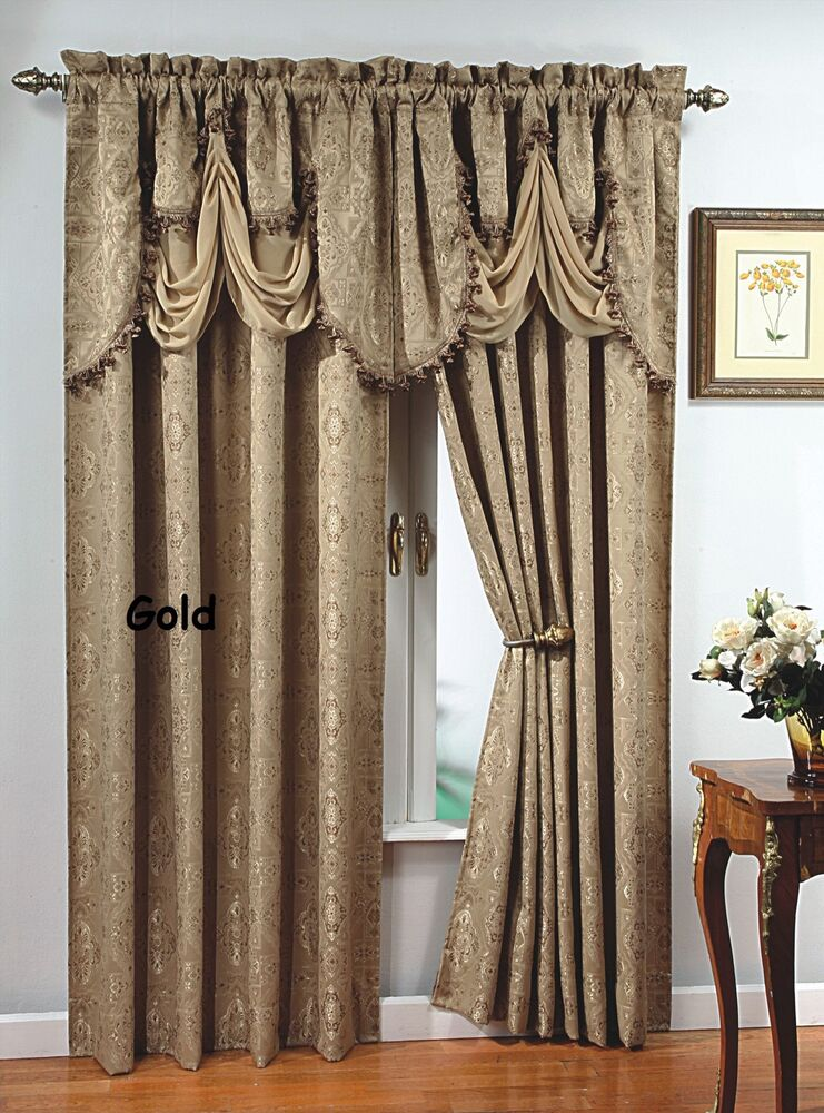 "... Window Curtain Jacquard Panel 84"" Long or Fringed Valance 