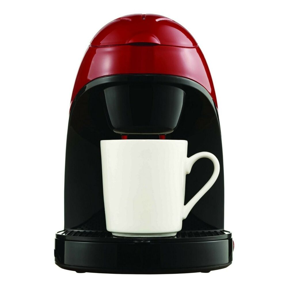 One Cup Coffee Makers ~ Single serve one cup coffee maker in metalic red includes