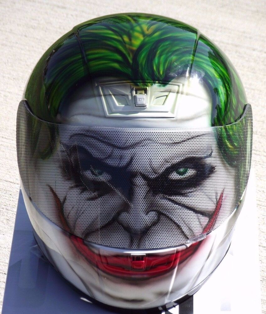 Full Motorcycle Helmet >> The Joker Custom Airbrush Painted motorcycle helmet | eBay