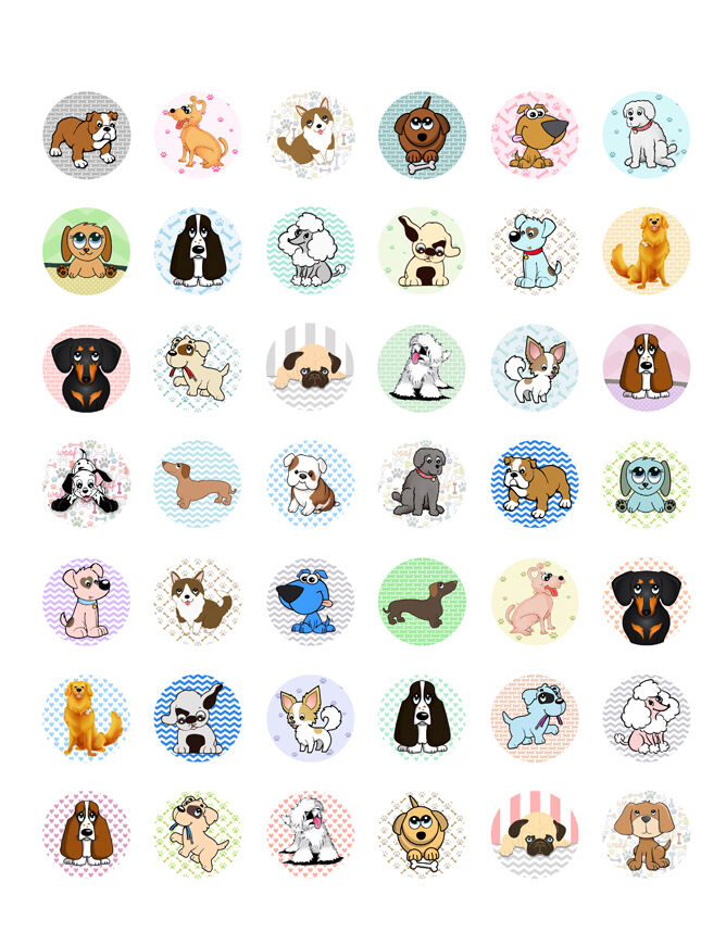 Dogs puppies themed printable bottle cap images 42 for Bottle cap designs