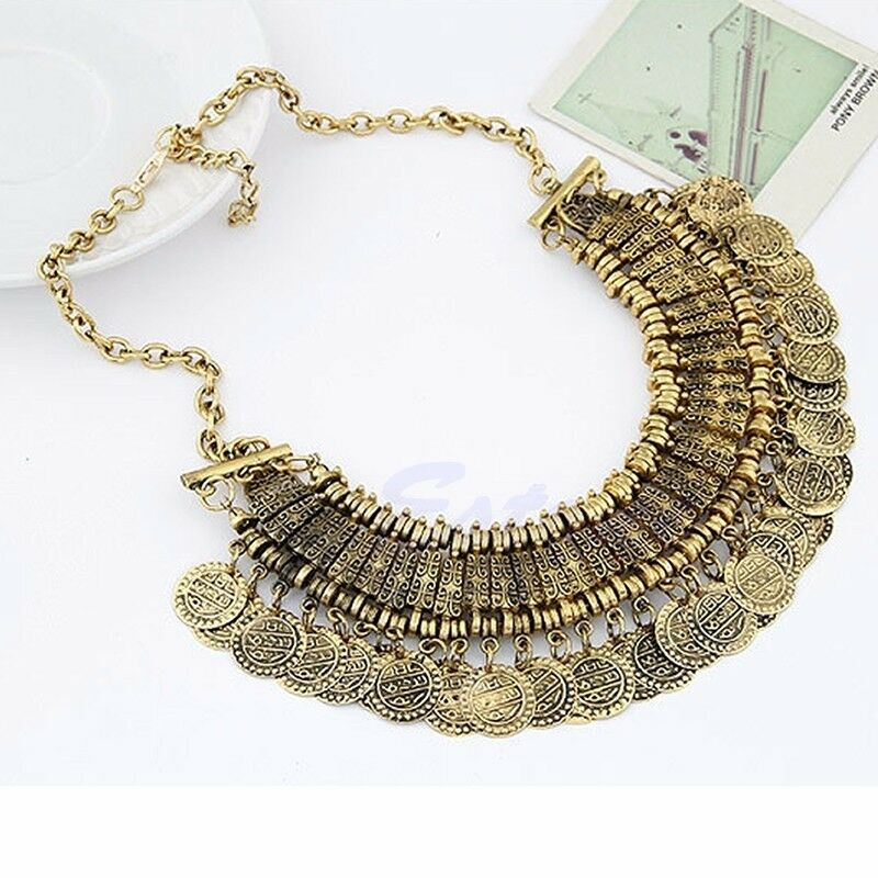 ethnic tribal boho coin necklace belly bohemian