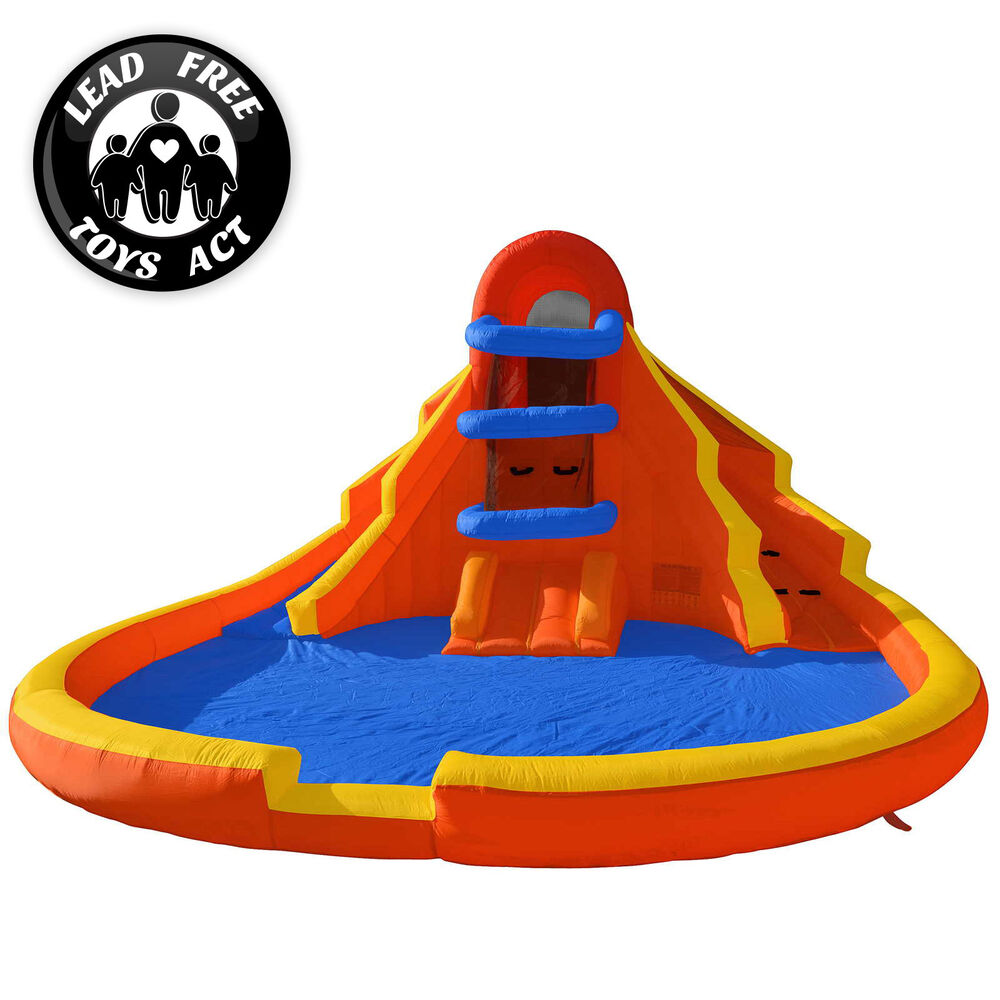 Inflatable Slide Blower: Double Water Slide Pool Bounce House Jumper Bouncer