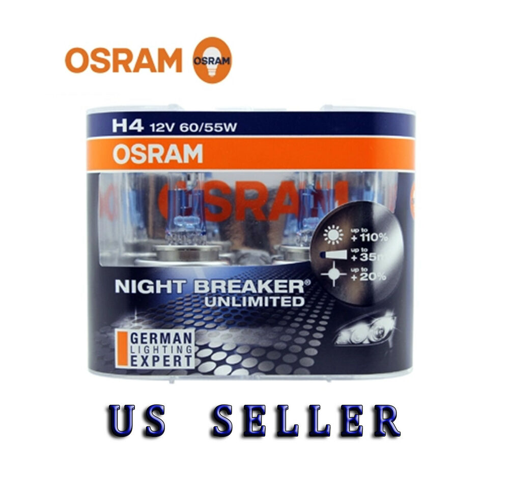 osram 64193nbu night breaker unlimited h4 bulbs 12v 60 55w brand new pair ebay. Black Bedroom Furniture Sets. Home Design Ideas