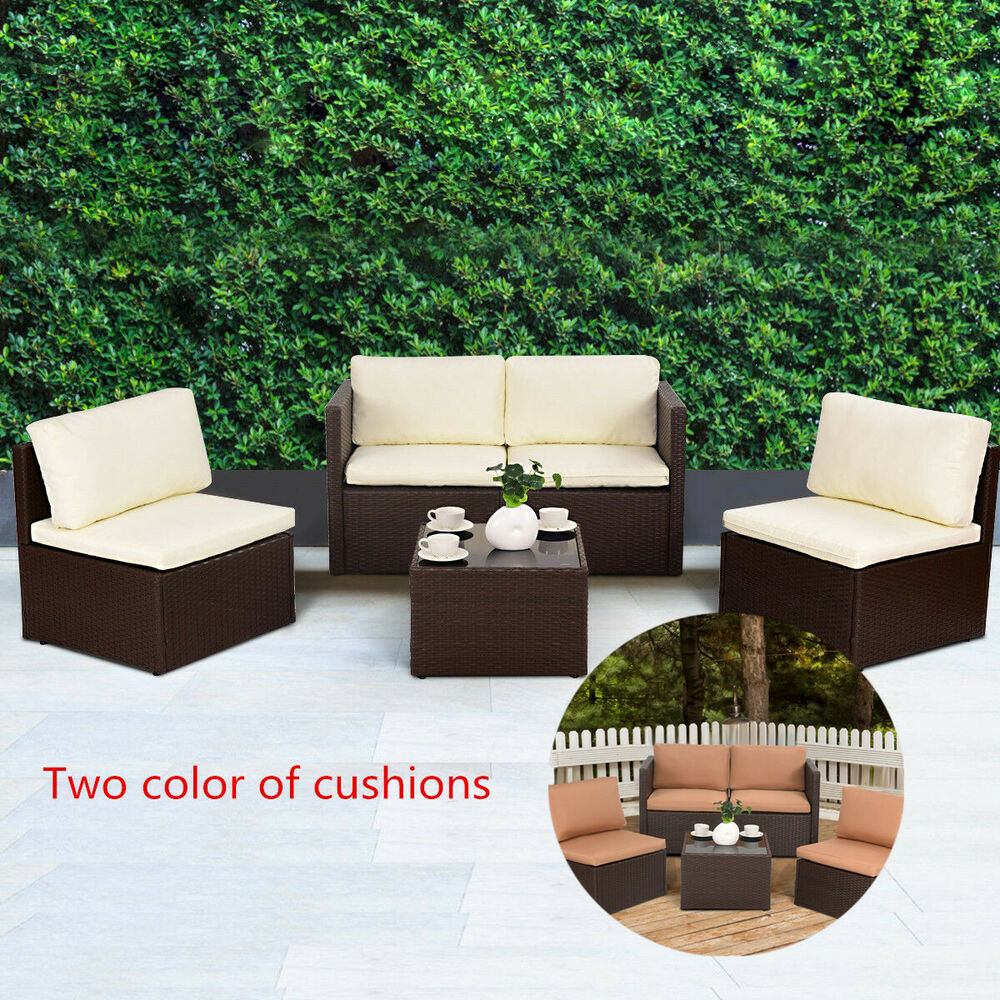 Luxury Patio Rattan Outdoor Garden Furniture Sofa Set Wicker Weave Conservato