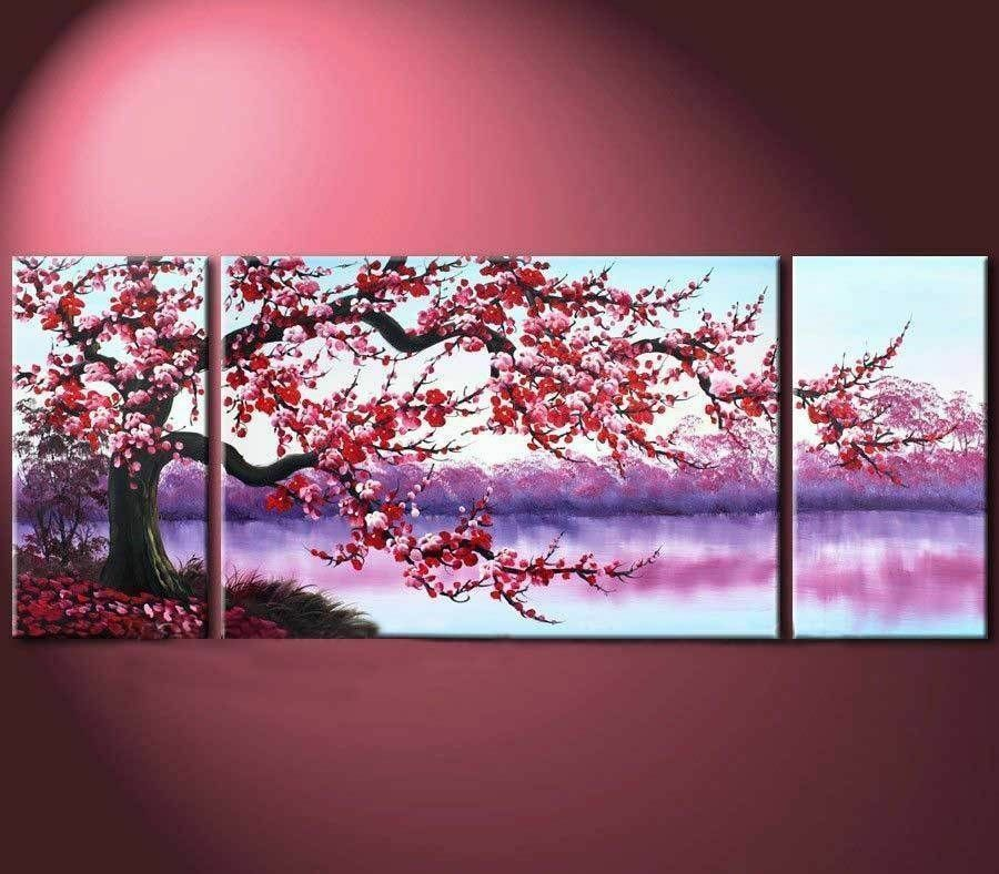 3PC Large Modern Abstract Art Oil Painting Wall Decor ...