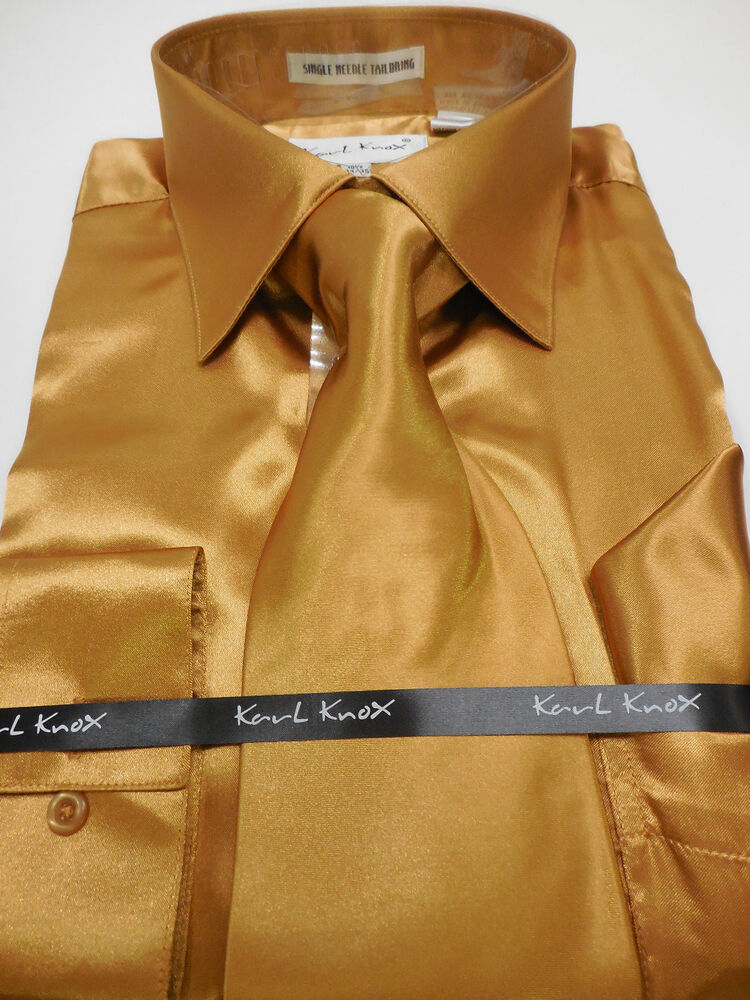 Mens karl knox shiny copper golden brown silky satin for Mens chocolate brown dress shirt