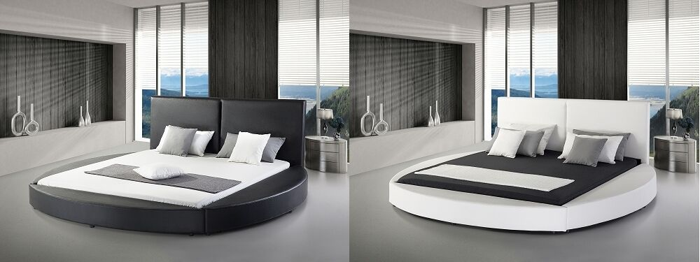 designer echtleder rundbett lederbett mit lattenrost. Black Bedroom Furniture Sets. Home Design Ideas