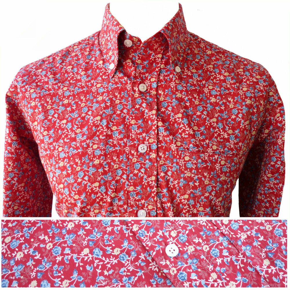 Relco mens floral flower print shirt red new long sleeve for Floral mens t shirts