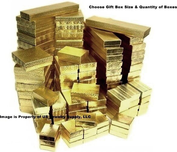 Gold cotton filled gift box jewelry craft collectibles for Wholesale craft supplies in bulk